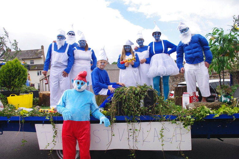 Group of Watchet Locals dressed as Smurfs for Watchet Carnival
