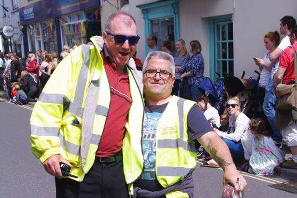 Two happy volunteers at Watchet Carnival