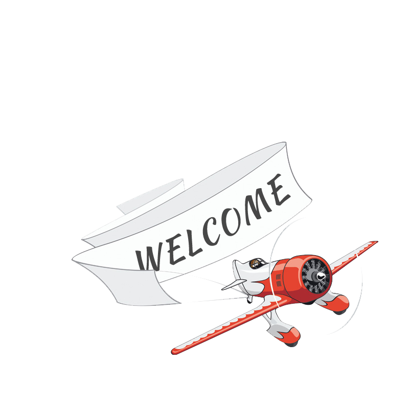Graphic of a plane towing a banner with welcome written on it